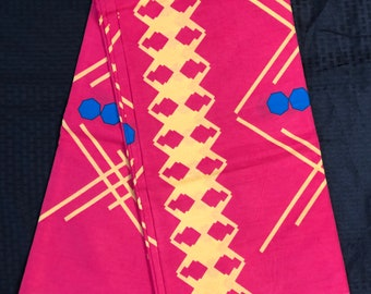 A6213 6 yards  Blue/pink yellow dots African Fabric/ African Wax print/ Ankara/ Ghana Cloth/ Material