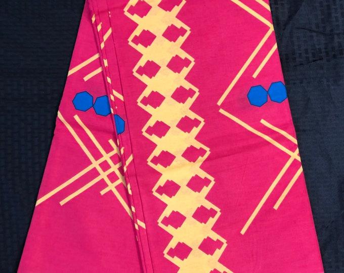 A6213 6 yards  Blue/pink yellow dots African Fabric/ African Wax print/ Ankara/ Ghana Cloth/ Material