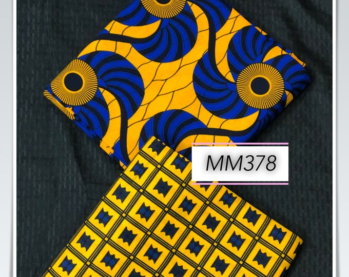 MM378 3 yard each Blue/ Yellow Mix Match set. FAn AKonwa African Fabric/ African Wax print/ Ankara/ African Material Cloth