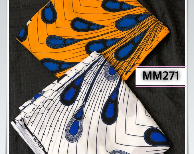 MM271 3 yards each  Blue white yellow rain Mix  Match Combo African Fabric/ African Wax Print/ ethnic Fabric/ African Material/ cloth/ sewin