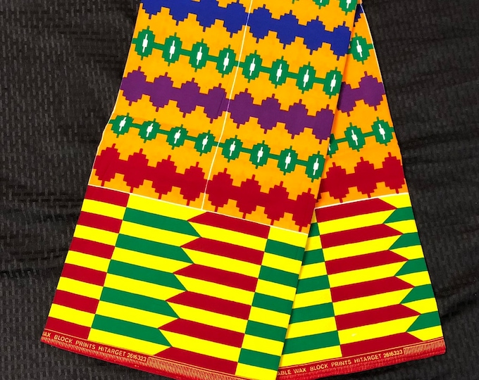 K69 6 yard yellow/ red/orange/ Blue green kente african Fabric/ kente Wax print/ kente cloth/ Material/head wrap