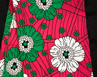 AK61 6 yards african fabric floral White Fuschia Pink/ apple Green African Wax print/ Ankara/ African Cloth/ Material/ Ghana/ Nigeria Fabric