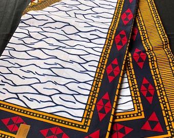 African Fabric per yard white Red/ Yellow black broken glass /African Wax print/ Ankara for Dress/ African cloth dolls/ African decor