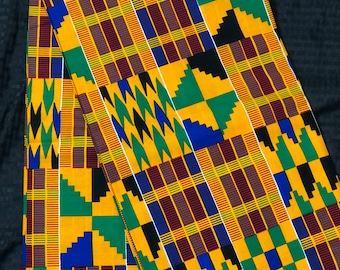 K149 per yard yellow/ orange/ Blue green kente african Fabric/ kente Wax print/ kente cloth/ Material/head wrap/ethnic tribal print