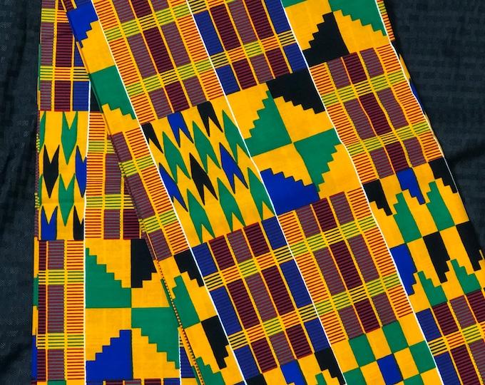K649 6 yard yellow/ orange/ Blue green kente african Fabric/ kente Wax print/ kente cloth/ Material/head wrap/ethnic tribal print