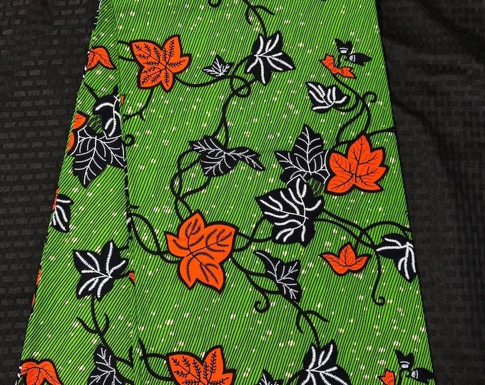 A1308 african fabric per yard Green/ orange leaf ahwene pa  African Wax print/ Ankara/ African Material/ cloth/ wrapper