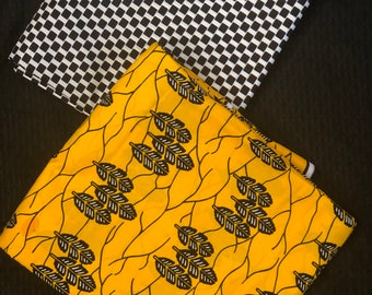 MM426 Mix Match african fabric pair Yellow/black African Fabric/ ankara/ african Wax Print/ ethnic print/ African Material