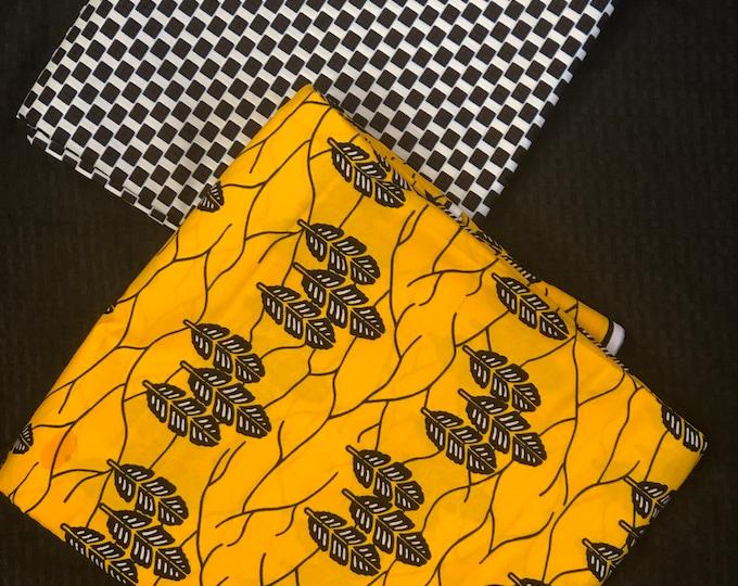 MM426 Mix Match african fabric pair Yellow/black African Fabric/ ankara/ african Wax Print/ ethnic print/ African Material