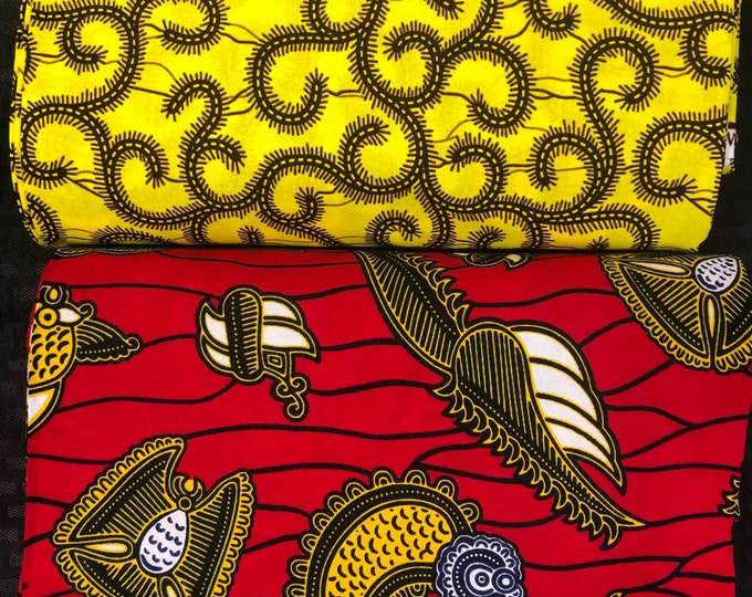 MM461 Mix Match african fabric pair Red/ Yellow African Fabric/ ankara/ african Wax Print/ ethnic print/ African Material/ Doll Cloth