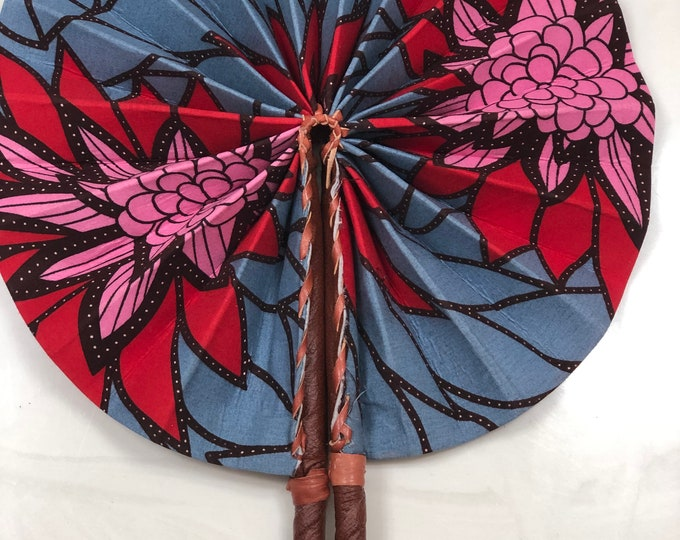 Blue Gray red pink Ankara african wedding favor ethnic print fabric round windmill style handmade hand fan with leather trim folding