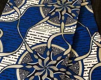 BWS61 6 yards royal Blue white metallic Silver floral medallion Fabric/African Wax print/ Ankara/ Sew Dress/ african table napkin
