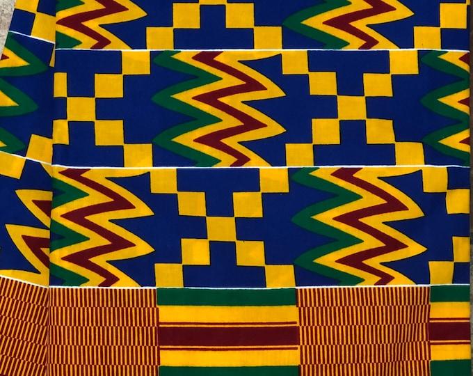 K157 african fabric kente per yard yellow/ red/ Blue kente Fabric/ kente Wax print/ kente cloth/ Material