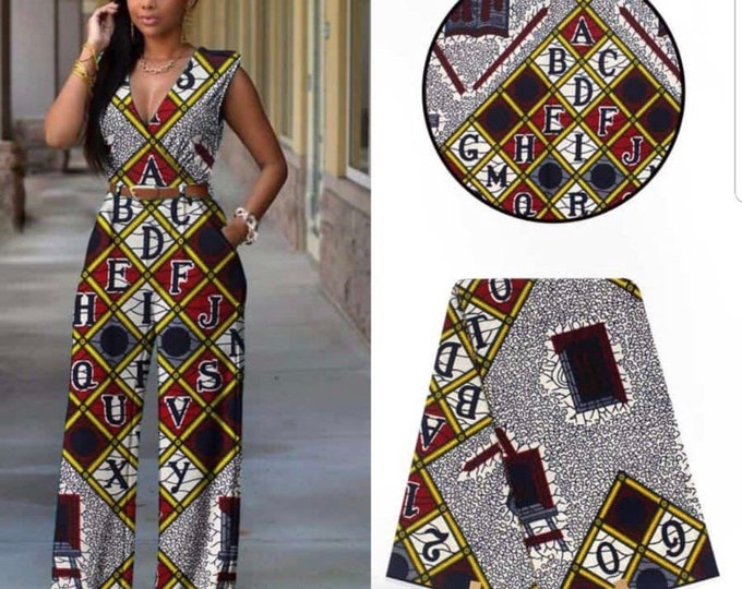 A6492 6 yards White/  red/ Yellow ABC African Fabric/African Wax print/ Ankara for Sew Dress/ African Art/ cloth dolls
