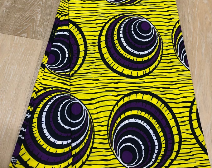 YP61 6 yard yellow Royal purple Eye concentric circles African Fabric/African Wax print/ Ankara for Sewing/African Decor/Throw pillows