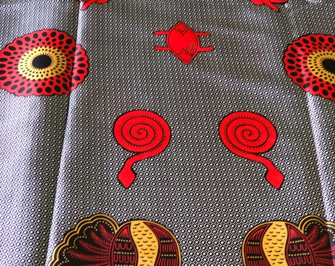 SK2 5 yards Silk Gold Red/ Snake snail bullseye ethnic print/ home decor print/ African ankara Wax print