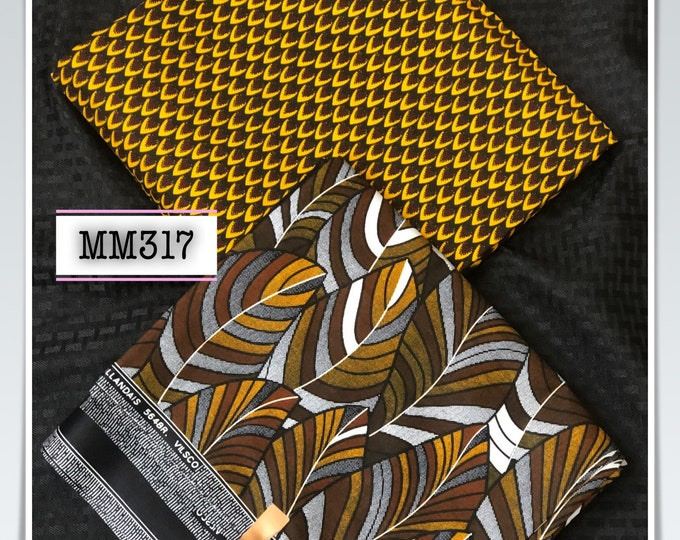 MM317 3 yards each brown yellow black print mix  Match prints fabric pair Design African Fabric/ African Cloth/ African Wax print/ gh