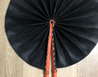 Solid Black Ankara african wedding favor ethnic print fabric round windmill style handmade hand fan with leather trim folding
