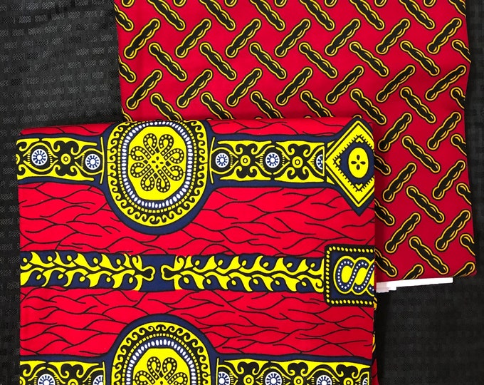 MM465 3 yards each Mix and Match red yellow gold ring African Fabric/ ankara/ african Wax Print/ ethnic print/ African Material/ Doll Cloth