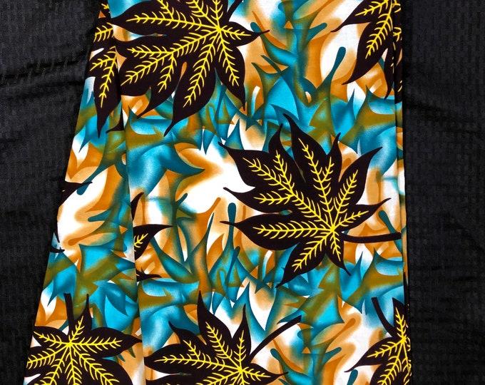 ML6 6 yards Teal Green yellow blue leaf Design African Fabric/ African Wax print/ Ankara/ African Material/ cloth/ wrapper