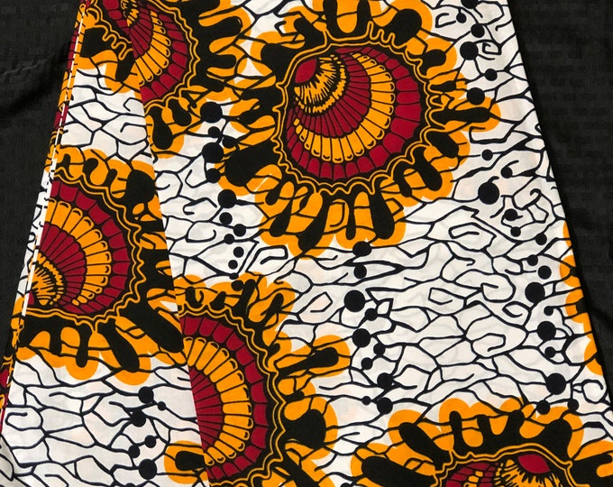 African fabric per yard white  red/ Yellow Oysters Design /African Wax print/ Ankara for Sew Dress/ African Art/ cloth dolls