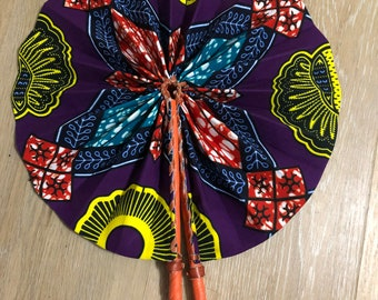 Blue yellow purple Ankara african wedding favor ethnic print fabric round windmill style handmade hand fan with leather trim folding