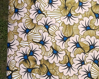 White yellow Stretch Africa fabric/ stretch african print/ african lycra Print for swimsuit/ Lycra african ethnic Print/ stretch fabric/yard
