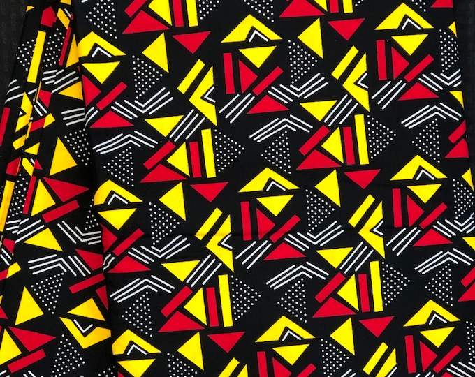 RY16 mud cloth African fabric by yard White/ yellow black red / gold African Wax print: Ankara for Sew Dresses/African art/tribal print