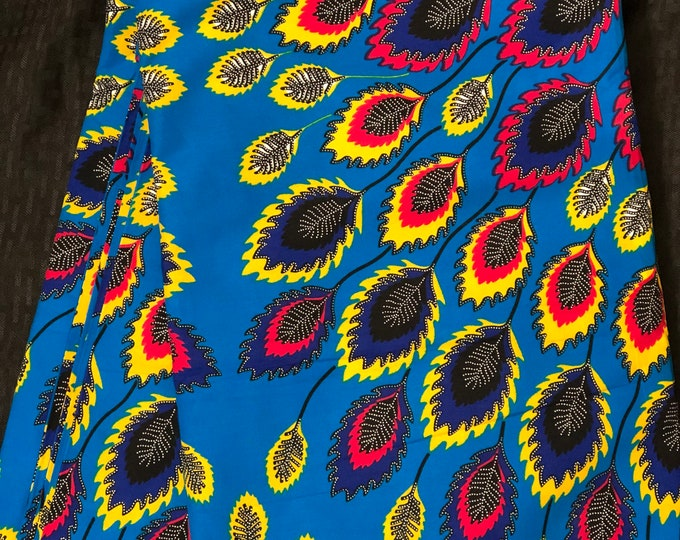 PCK3 african fabric per yard peacock feather  multicolor blue yellow green Design ankara/ african Material/ Cloth/ wrapper/Head tie