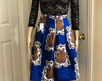 Blue white black knee length african fabric skirt / ethnic skirt / dashiki skirt / women wear/Ankara/African wax print skirt