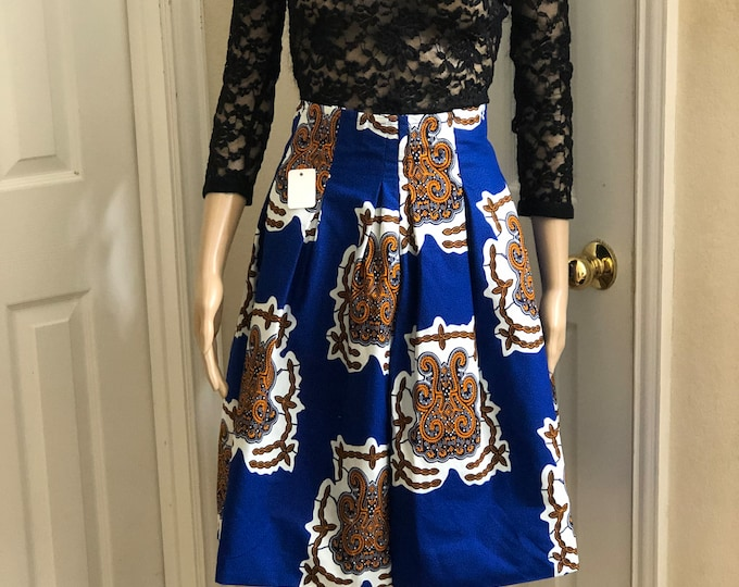 Blue white black knee length african fabric skirt / ethnic skirt / dashiki skirt / women wear/Ankara/African wax print skirt