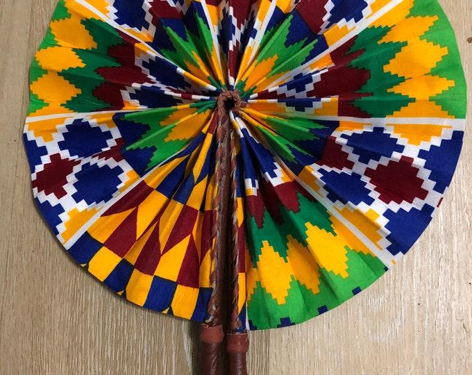 Burgundy red yellow green  kente Ankara african wedding favor ethnic print fabric round windmill style handmade hand fan