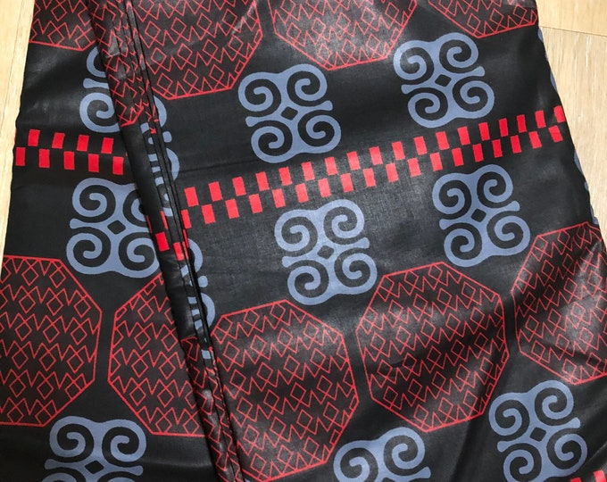 MC117 african fabric per yard black red adinkra symbol Dwennimen African Wax print: Ankara for Sewing Dresses/African art/tribal print