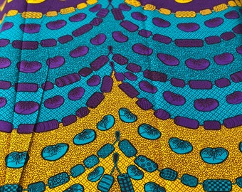 A1425 1 yard per yard Blue/ purple yellow beads African Fabric/ ankara/ african Wax Print/ african Material/ Cloth/ wrapper/ Head wrap