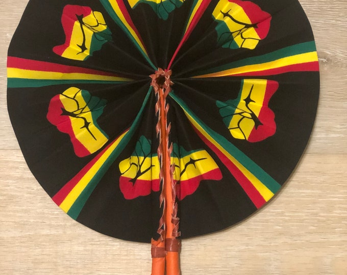 Black yellow green fist african wedding favor ethnic print fabric round windmill style handmade hand fan with leather trim folding