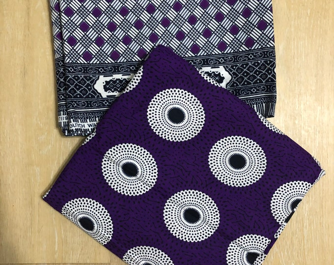 MM489 3 yards each white/Purple bullseye checkerboard design African fabric pair ethnic print Mix and Match African Ankara Fabric Print