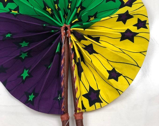 Green purple yellow Ankara african wedding favor ethnic print fabric round windmill style handmade hand fan with leather trim folding