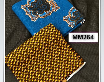 MM264 3 yards each blue brown Mix  Match prints fabric pair Design African Fabric/ African Cloth/ African Wax print/ ghana cloth