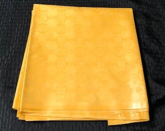 BB17 Bazin / Guinea Brocade African fabric per yard solid yellow gold Kitenge African Wax print/ Ankara / African Art/ cloth dolls
