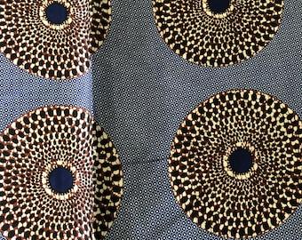 SK11 5 yards Silk White blue brown bullseye Silk print/ african silk fabric/ ethnic silk fabric/ African doll cloth