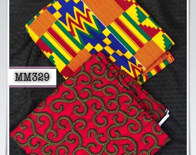 MM329 3 yards each red kente Mix Match African Wax/ African Fabric/ankara/ Material/ decor pillows/ african cloth dolls