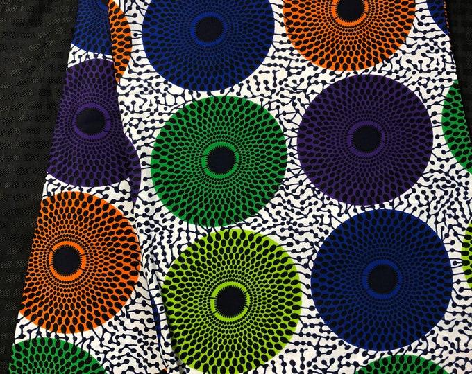 MC691 6 yards african fabric bullseye multicolor orange purple blue white green Mudcloth Design ankara/ african Material/ Cloth/ wrapper