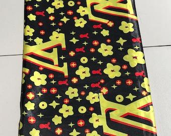 Multicolor 5 yards Silk Yellow/ Red/ Design gorgeous ethnic print/ home decor print/ African ankara Wax print