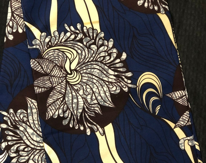 BBR6 6 yd  Ink Blue metallic gold coffee Brown floral design African Fabric/African Wax print/ Ankara for Dress/ African cloth African decor