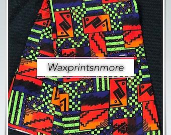 6 yard orange/  yellow/ red/ Blue green angelina Dashiki african Fabric/ kente Wax print/ kente cloth/ Material/head wrap
