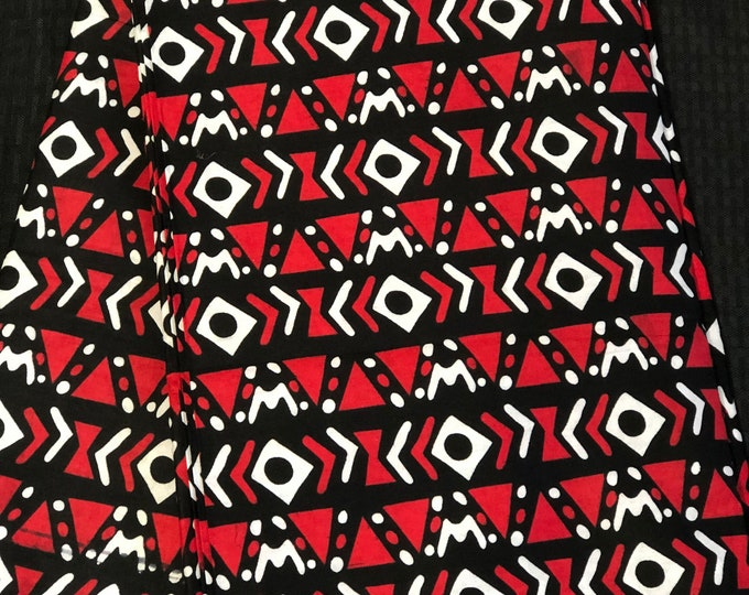 RB1 african fabric per yard White/ black red mud cloth African Wax print: Ankara for Sewing Dresses/African art/tribal print