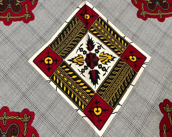 WR1 per yard White/ red/Yellow/orange diamond kitenge African Fabric/African Wax print/ Ankara for Sew Dress/ African Art/ cloth dolls