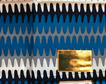A6297 6 yards Vlisco Blue/ White/ Black kente cloth/ Material. Kente Fabric for Sewing Dress/ shirt/ skirt/ stole
