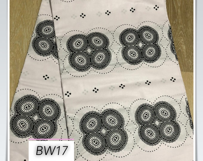BW17 african fabric per yard Black white Circles Print/ ankara/ ethnic cloth/ traditional cloth/ home decor pillow/ Doll cloth/ Sewing