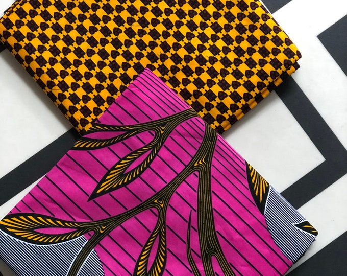 MM432 3 yards Each Pink /yellow orange  Mix and Match African Fabric/ ankara/ african print/ Material/ ethnic print/Doll cloth