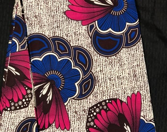 PB61 6 yards Blue pink white floral African Fabric/African Wax print/ Ankara/ Sew Dress/ african table napkins/ ho